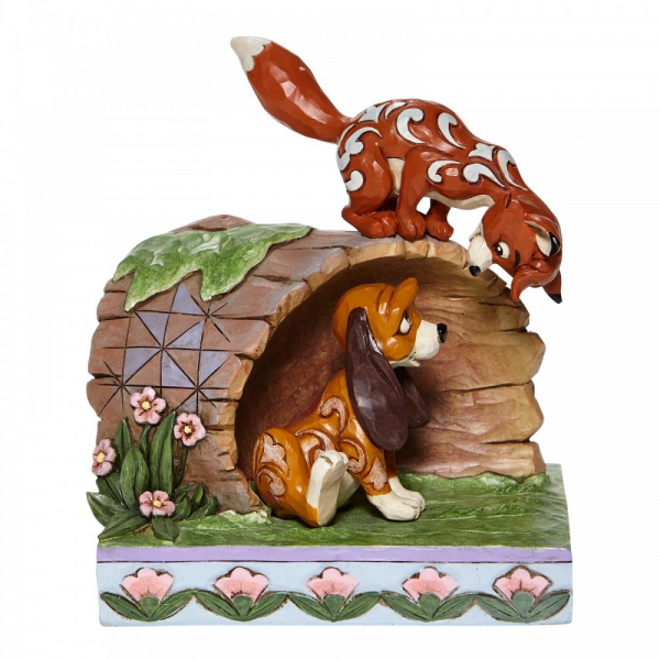 Disney Traditions Unlikely Friends - Fox and Hound Log Figurine - 6008077