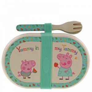 (GIFT WITH PURCHASE) Peppa Pig Bamboo Snack Box with Cutlery Set - A29658 - Minimum Spend £10.00