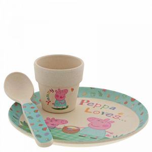 3 x Peppa Pig Bamboo Egg Cup Dinner Set