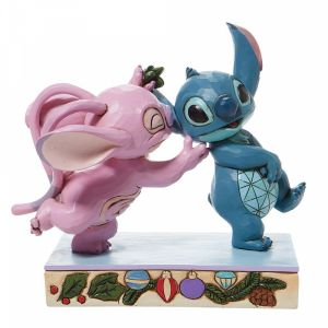 Disney Traditions Angel Kissing Stitch Under Mistletoe - 6008980