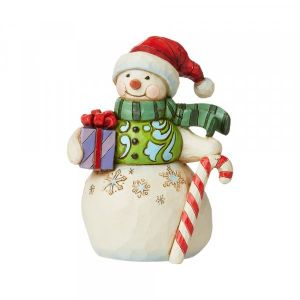 Heartwood Creek Snowman with Gift and Candy Cane Mini Figurine