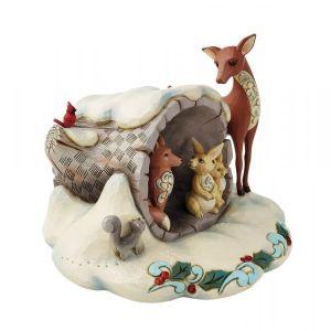 Jim Shore Heartwood Creek Winter Wonderland Hollow Log with Animals Figurine