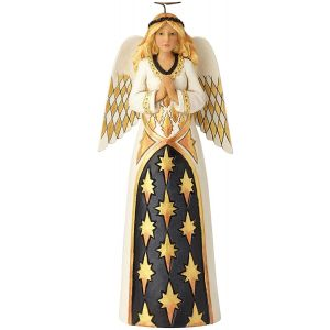 Heartwood Creek Black And Gold Praying Angel Figurine