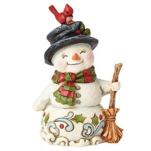 Heartwood Creek Snowman With Broom Mini Figurine - 6001496