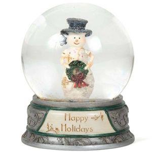 2 x Birch Hearts Snowman Happy Holidays Waterglobe