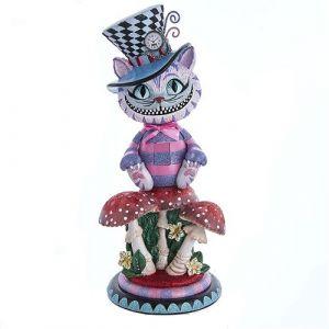 """15"""" Holly Wood Cheshire Cat Nutcracker"""