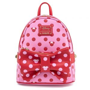 Loungefly Disney Minnie Mouse Pink and Red Polka Dot Bow Mini Backpack with Fanny Pack