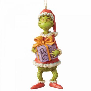 Jim Shore Grinch Holiding Present (Hanging Ornament) - 6004067