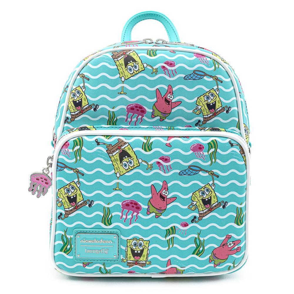 Loungefly Nickelodeon Spongebob Jelly Fishing AOP Convertible Mini Backpack - NICBK0018