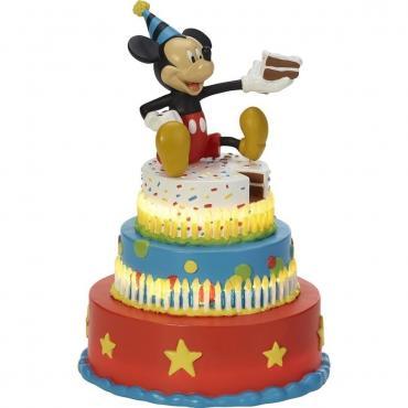Precious Moments Disney Mickey Mouse Birthday Cake Figurine, Mickey's Birthday Wishes, LED Figurine, Resin - 182702