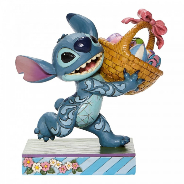 Disney Traditions Bizarre Bunny - Stitch Running off w/ Easter Basket Figurine - 6008075