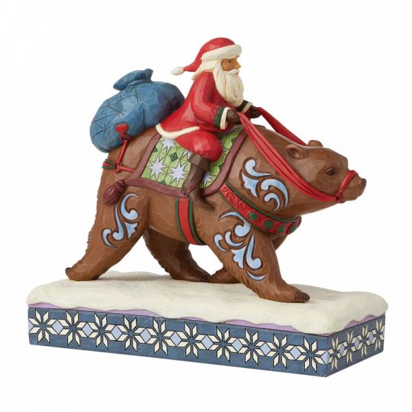 Jim Shore Heartwood Creek Annual Santa Riding a Brown Bear Figurine - 6008875
