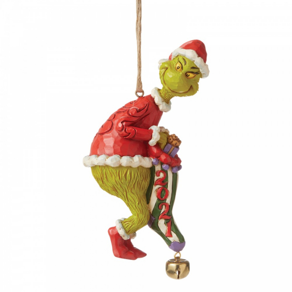 Jim Shore The Grinch Dated Sock Hanging Ornament 2021 - 6008894