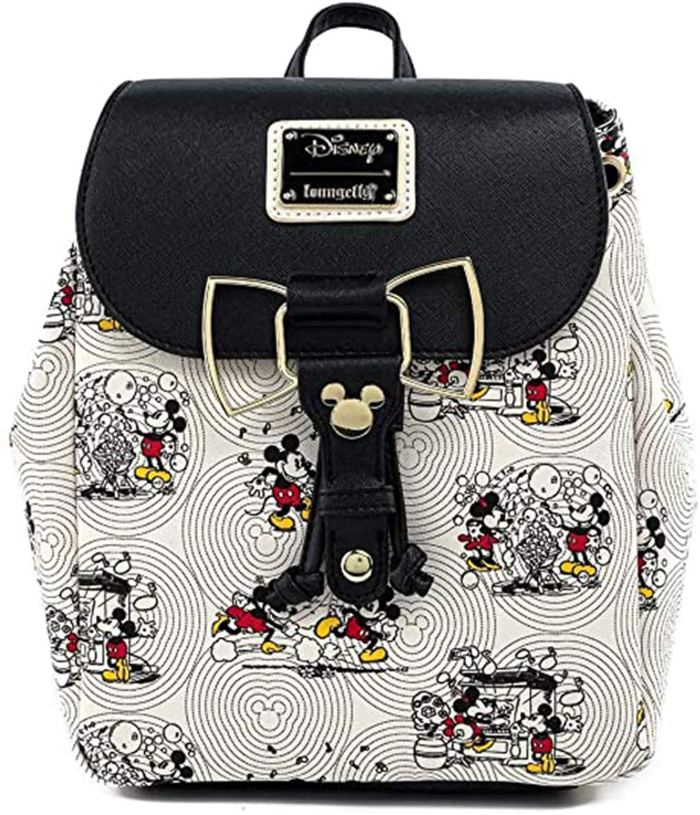 Loungefly Disney Mickey & Minnie Mouse Bow Hardware AOP Backpack - WDBK1310