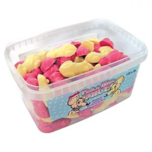 120 Pink & White Mice Sweets