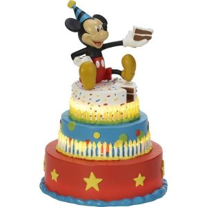 Precious Moments Disney Mickey Mouse Birthday Cake Figurine, Mickey's Birthday Wishes, LED Figurine, Resin - 182702