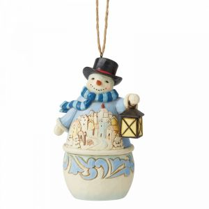 Jim Shore Heartwood Creek Snowman with Village Scene (Hanging Ornament) - 6006678