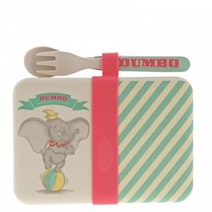 2 x Dumbo Bamboo Snack Box with Cutlery Set A29575