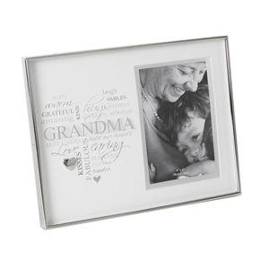 "4"" x 6"" Nickel Plated Heart Frame Grandma FS338G"