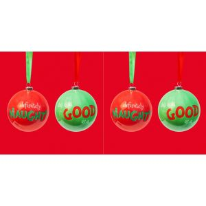 2 x The Grinch Set of 2 Baubles - Naughty & Good - XM7625